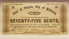 1862 75c Confederate Note, From State Of Virginia, City Of Richmond.