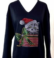 PLUS SIZE 3X Hand Embellished Rhinestone Christmas Kitty Cat Package Top Shirt