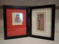 Pair of Georgia Chambers Ink Drawings Clown Themed Signed Artist's Proofs 1990