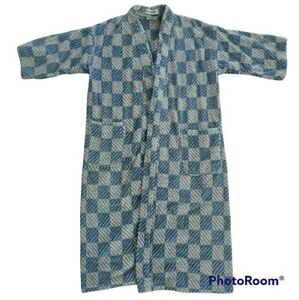 Vintage TJ Lawford Saks Fifth Ave Robe Lounge Terry Cloth Blue Beige One Size
