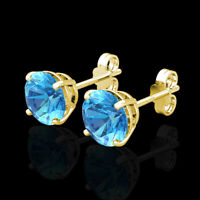 2CT Created Blue Topaz Earrings 14K Real Yellow Gold Round Solitaire Basket Stud