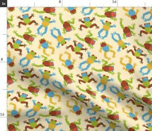 Frogs Amphibians Spring Toads Painted Scatter Fun Spoonflower Fabric by the Yard