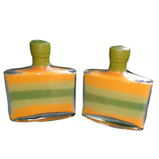 Orange Green Layered Sand Square Glass Bottle Set Sealed Home Decor