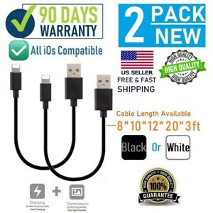 """2-pack 8"""" 10"""" 12"""" 3FT Short USB cable for iPhone 6,7,8,X,XR,XS,11,11Pro MAX"""