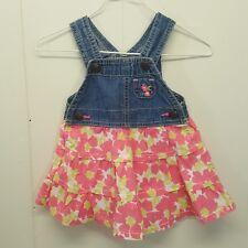 OshKosh Vestbak Jumper Dress Overalls 6 Months Jean Denim Pink Floral Tiers