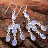 Natural Rainbow Moonstone Gemstone 925 Sterling Silver Dangle Earrings Jewelry