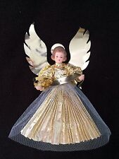 "Vintage SHINY Gold Foil  Angel CHRISTMAS Tree Topper 7"" TALL"