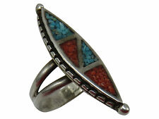 Vintage Biker Ring Turquoise Coral Enamel Size 5.5 Unisex Silver Jewelry 79q