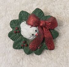 Classic Pin Brooch Christmas Dove Peace On Earth Olive Branch Wreath Red Bo X18E