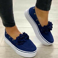 Women Summer Casual Flower Platform Pumps Shoes Comfy Slip On Loafers Shoes,