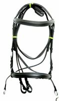 English Leather Crossover Crossunder Bitless Bridle Comfortable For Horse REINS