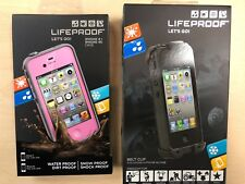 Lifeproof fre Waterproof Case For iPhone 4/ 4S in Pink + Black Belt Clip Combo