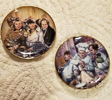2 Three Stooges Plates~ 1993 & 1994~ With Plate Hangers~ Franklin Mint