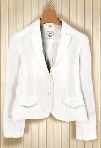 Esprit Jacke Leinen Blazer Jacket Damen Gr. S 36 38 Sommer Kostüm weiß uni K15
