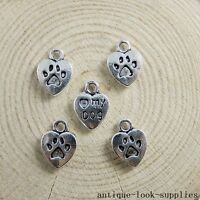 40pcs Vintage Silver Alloy Love Heart Dog Charms Pendants Jewellery Making 51147