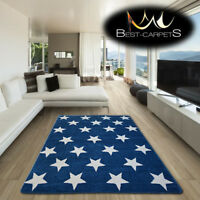 AMAZING THICK MODERN RUGS SKETCH Stars BLUE CREAM FA68 LARGE SIZE BEST-CARPETS