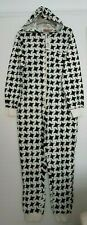Sleep & Relax Black White Dogtooth Cotton Jersey One Piece Sleep Suit M-L Hooded