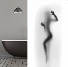 Cortina de ducha tela silueta 180x200 cm DESNUDO BODY Gris Negro Blanco Cuerpo