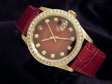 Men Rolex Solid 18K Yellow Gold Datejust Watch Red/Burgundy 1.50ct Diamond 16018