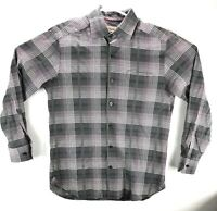 Tommy Bahama Gray Pink Plaid Cotton Silk Button Up Shirt Mens Size S/P