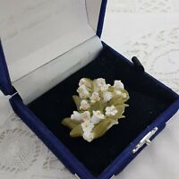 VINTAGE Lily Of The Valley Brooch Early Plastic Floral Pin Badge Pretty Spring