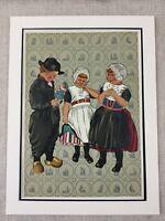1932 Costume Stampa Olandese Bambini Ragazze Bambola Paesi Bassi Holland Rare