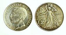 pcc1831_1) Vittorio Emanuele III  (1901-1943) 2 Lire Cinquantenario 1911 TONED