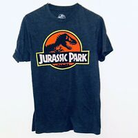 Vintage Jurassic Park Logo Dinosaur Charcoal Gray Men's Graphic T-Shirt - S