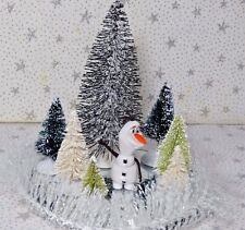 Sisal Bottle Brush Trees Snow Christmas Village Accessory Snowman Lot 10 New )