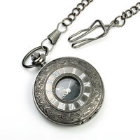 Chic Steampunk Black Antique Pendant Vintage Retro Necklace Pocket Quartz Watch