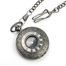 2017 Vintage Antique Black Steampunk Quartz Pocket Watch Pendant Chain Necklace