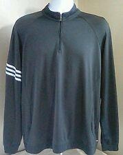EUC Adidas Climalite Long Sleeve Pullover Shirt Track Warmup Jacket Black Large