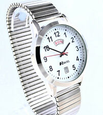 Ravel Mens Big Number Day Date Expander Watch, Silver Tone, Easy Read Time