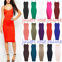 Womens Ladies Plain Sleeveless Strappy High Neck Stretch Bodycon Midi Dress Top