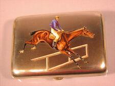 Alte Silberdose Email Jockey  Pferd Wien 1900 horses derby case box