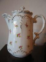 Antique Marx & Gutherz Carlsbad Austria Porcelain Teapot w/ Floral Decoration