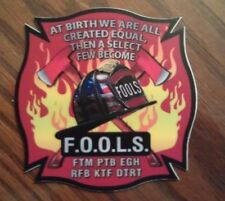 """Fraternal Order of Leatherhead Society FOOLS Firefighter Contour Cut 4"""" Decal"""