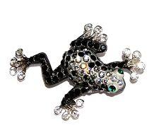 Arrow Black Frog Brooch/Pin Rhinestone Froggie Poison