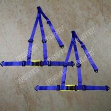 Car 3 Point Racing Safety Harness Strap Seat Belt Bolt In Blue Pair AU