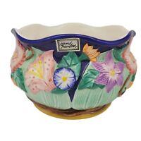 Vintage Fitz & Floyd Cobalt Blue Ceramic Flower Pot Hand Painted Raised 1994