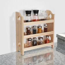 3-Tier Wooden Spice Rack Wall-Mount Holder Bathroom Kitchen Dining Countertop