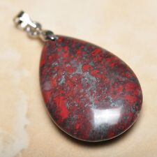"Extremely Red Natural Bloodstone Jasper 925 18K WG Clasp 1.5"" Pendant #P13288"
