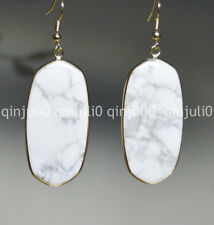 Natural White Turquoise Huge 23X43MM Real Gemstone Hook Drop Dangle Earring JE95