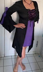 Mittelalter Kleid, Kleid, Zipfel Kleid, Größe 38 / 40, schwarz / lila NEU