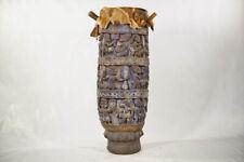 "Colorful Hand Carved Yoruba Drum 42"" - Nigeria - African Art"