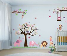 Nursery Tree /Jungle Animals / Owls Butterfly Pink Elephant Baby Wall Stickers