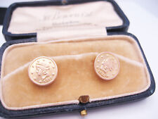 Antique Edwardian Art Deco 10K Yellow Gold Cufflink Button Studs 1911 Gold Coins