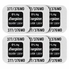 6 x Energizer 377 376 batteries Silver Oxide 1.55V SR66 SR626SW Watch