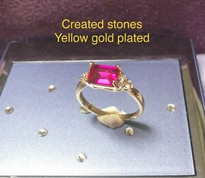 2ct emerald cut ruby DIAM0NDS ring uk size T us 10