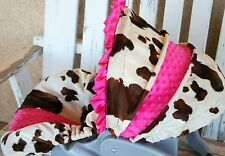 brown cow/horse print w/pink minky infant car seat cover and hood cover w/ruffle